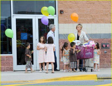 This photo was taken today (May 16) at a Party City near the Gosselins' Pennsylvania home. The outing was filmed by their TLC camera crew. And yes, that is Steve Neild standing amongst the children.