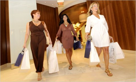 Caroline, Teresa and Dina spend some hard-earned cash at The Shoppes at The Water Club in Atlantic City./Credit New York Times