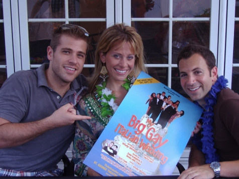 """Real Housewife of New Jersey"" Dina Manzo, center, helps ""One Life to Live"" star Scott Evans, left, and Anthony Wilkinson, right, celebrate the launch of ""My Big Gay Italian Wedding"" on Sunday in Staten Island, N.Y./Photo courtesy of Vijay Uttam"