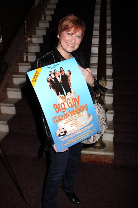 "Caroline Manzo shows off a poster from ""My Big Gay Italian Wedding.""/Photo courtesy of Steven Bergman"