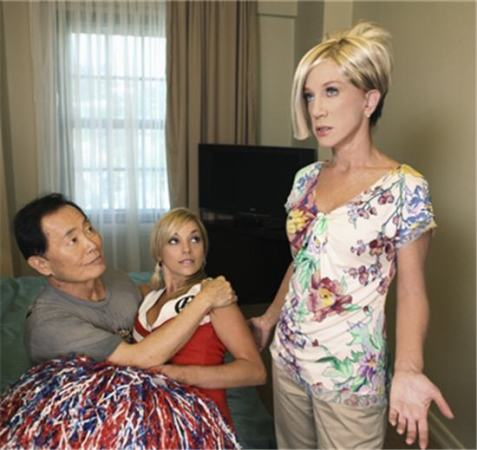 """Kathy Griffin channels her inner Kate Gosselin as George Takei tackles young-chickie-admirer Jon Gosselin in a new skit on """"Jimmy Kimmel Live.""""/Credit """"Jimmy Kimmel Live"""""""