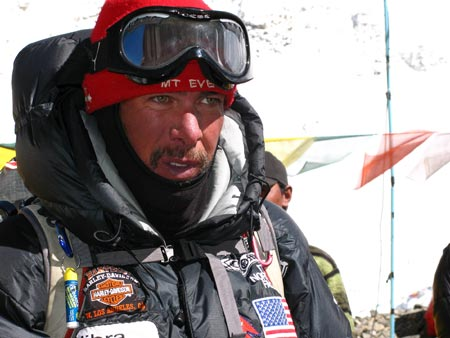 Baby, it's cold outside: Tim tries to keep warm during his ascent of Mount Everest./Credit Discovery Channel